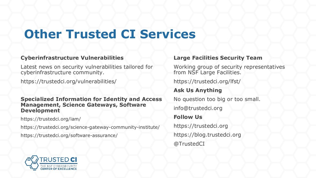 Other Trusted CI Services Large Facilities Secu...
