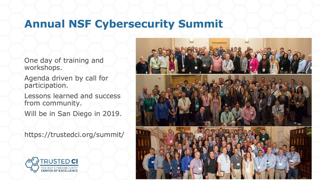 Annual NSF Cybersecurity Summit One day of trai...
