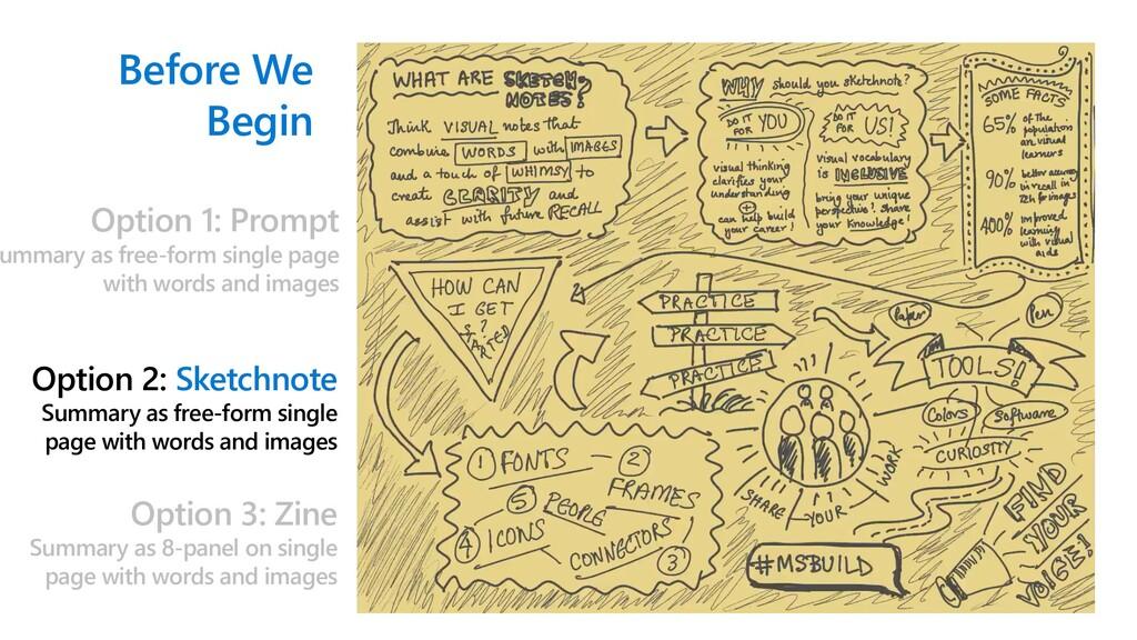Before We Begin Option 2: Sketchnote Summary as...