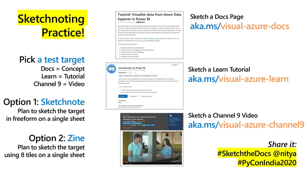 Sketchnoting Practice! Pick a test target Docs ...