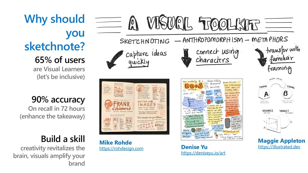 Why should you sketchnote? 65% of users are Vis...