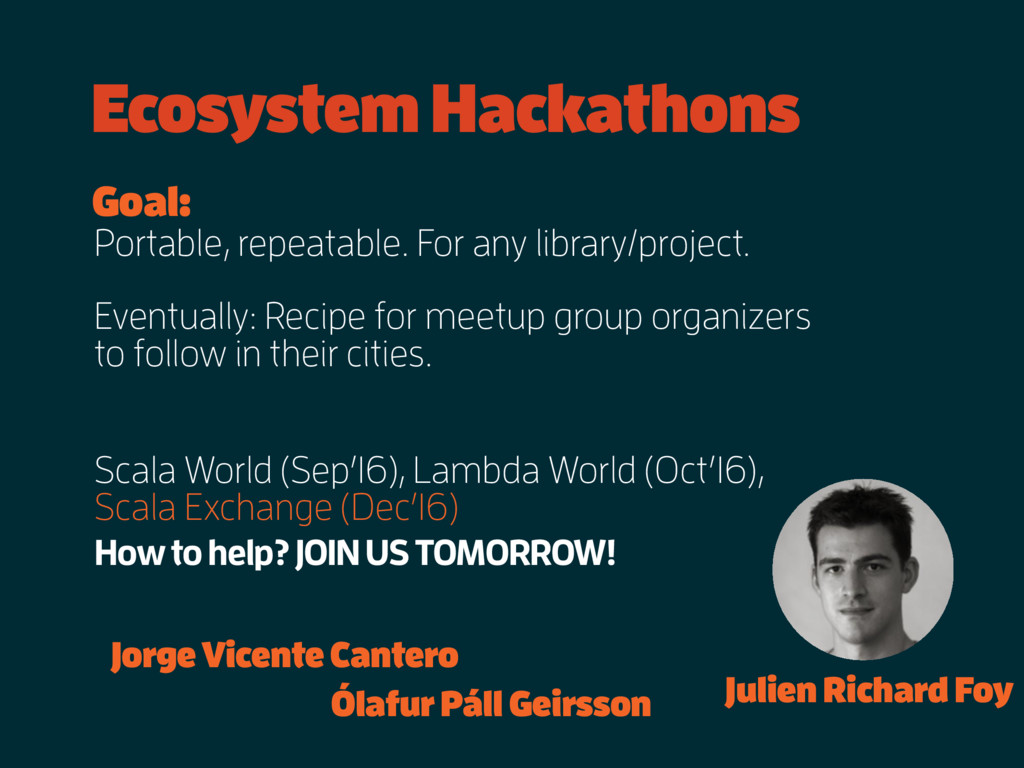 Ecosystem Hackathons Scala World (Sep'16), Lamb...