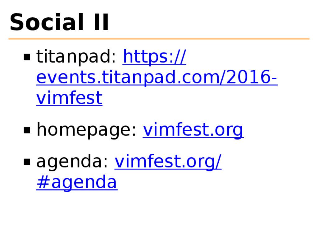 Social II titanpad: https:// events.titanpad.co...