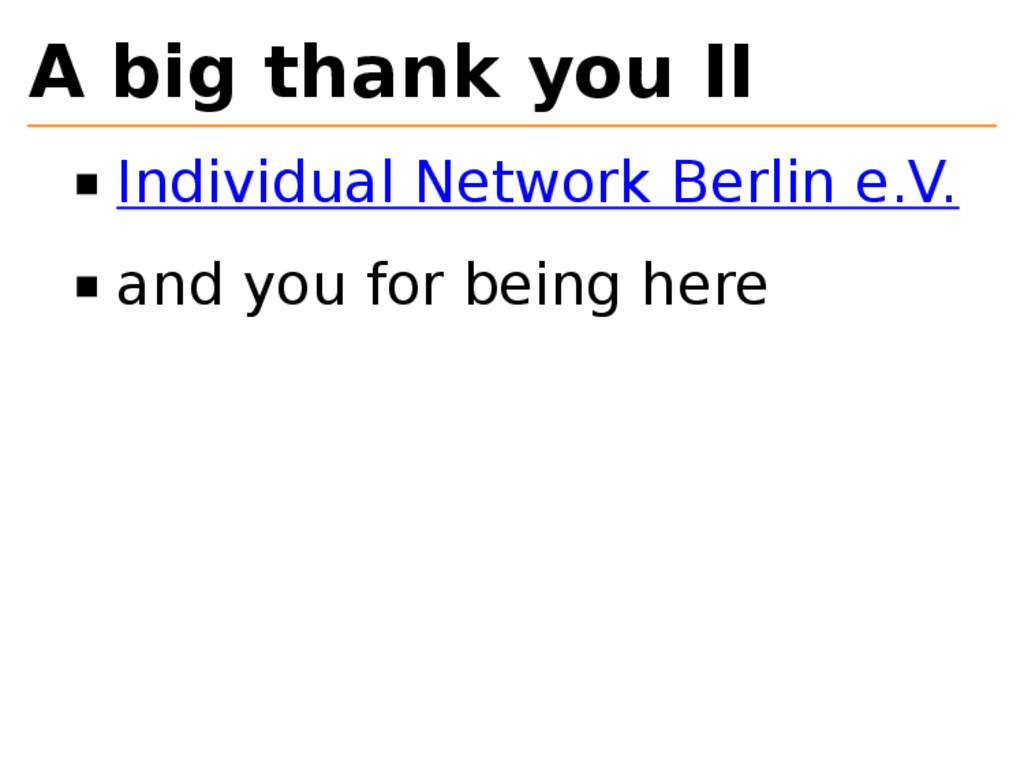 A big thank you II Individual Network Berlin e....