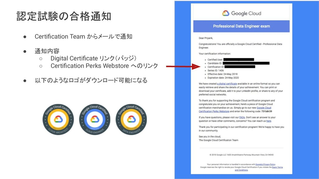 Proprietary + Confidential 認定試験の合格通知 ● Certifica...