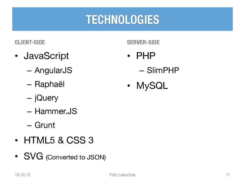 TECHNOLOGIES CLIENT-SIDE • JavaScript – An...