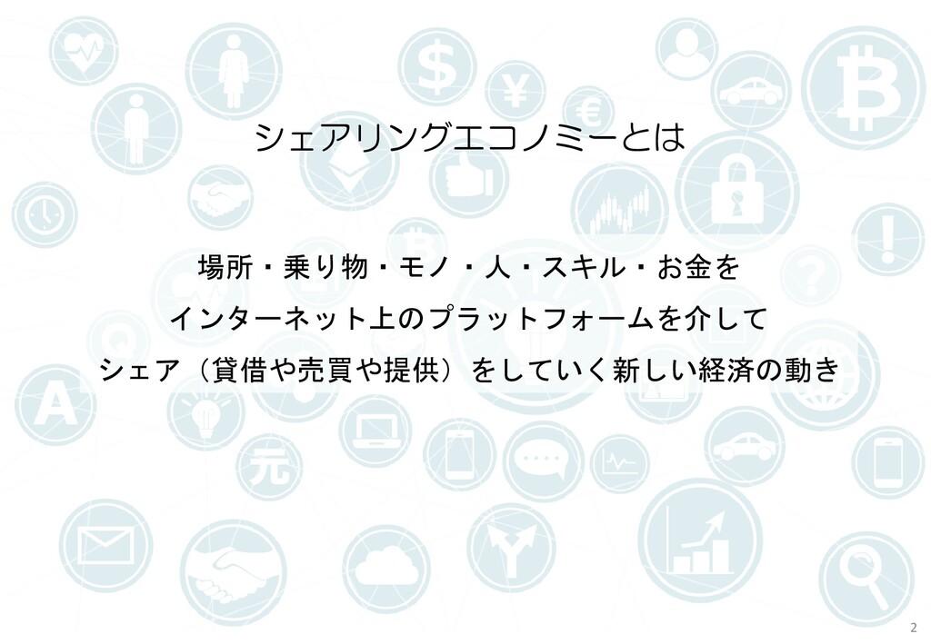 場所・乗り物・モノ・人・スキル・お金を インターネット上のプラットフォームを介して シェア(貸...