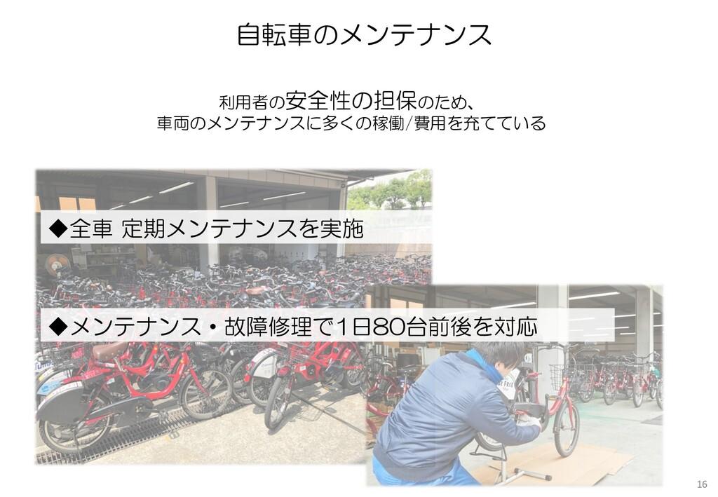 自転車のメンテナンス ◆全車 定期メンテナンスを実施 ◆メンテナンス・故障修理で1日80台前後...