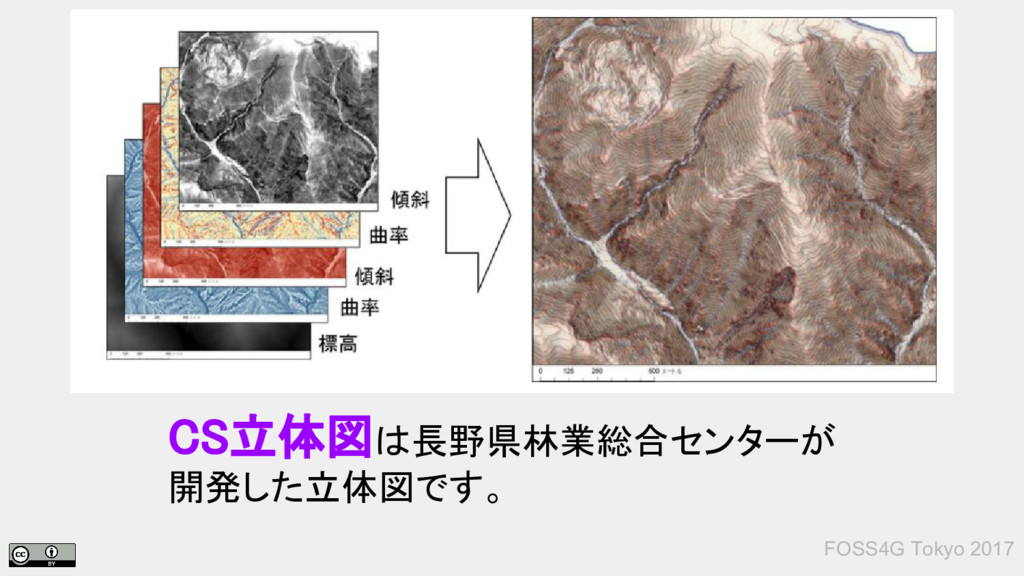 FOSS4G Tokyo 2017 CS立体図は長野県林業総合センターが 開発した立体図です。