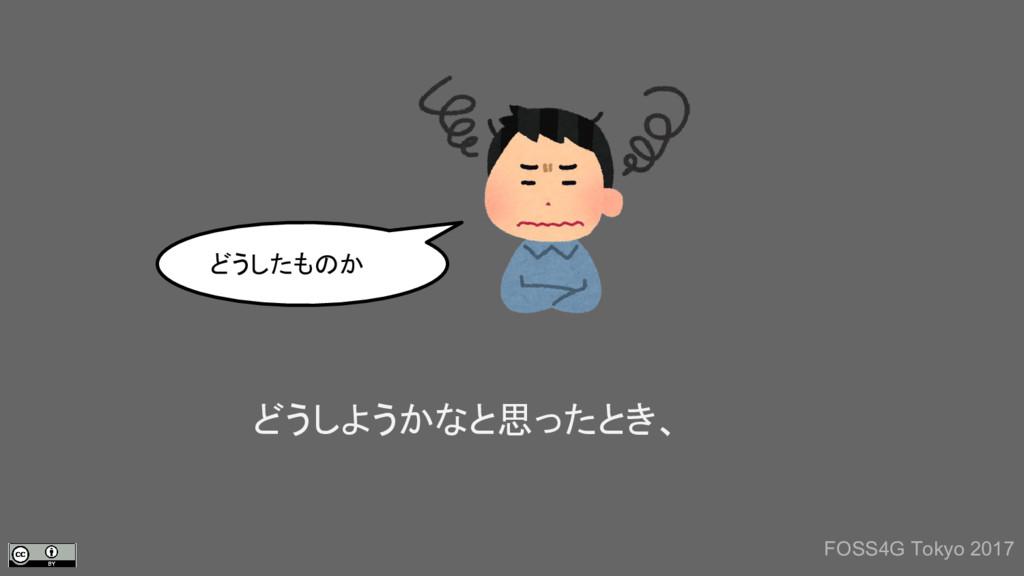 どうしようかなと思ったとき、 どうしたものか FOSS4G Tokyo 2017