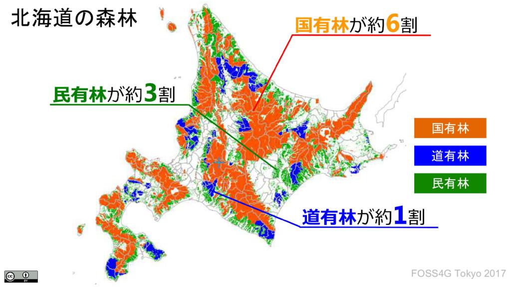 北海道の森林 国有林 道有林 民有林 FOSS4G Tokyo 2017