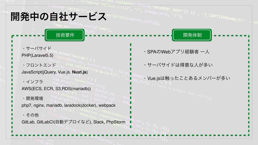 ։ൃதͷࣗࣾαʔϏε ɾαʔόαΠυ PHP(Laravel5.5) ɾϑϩϯτΤϯυ Jav...
