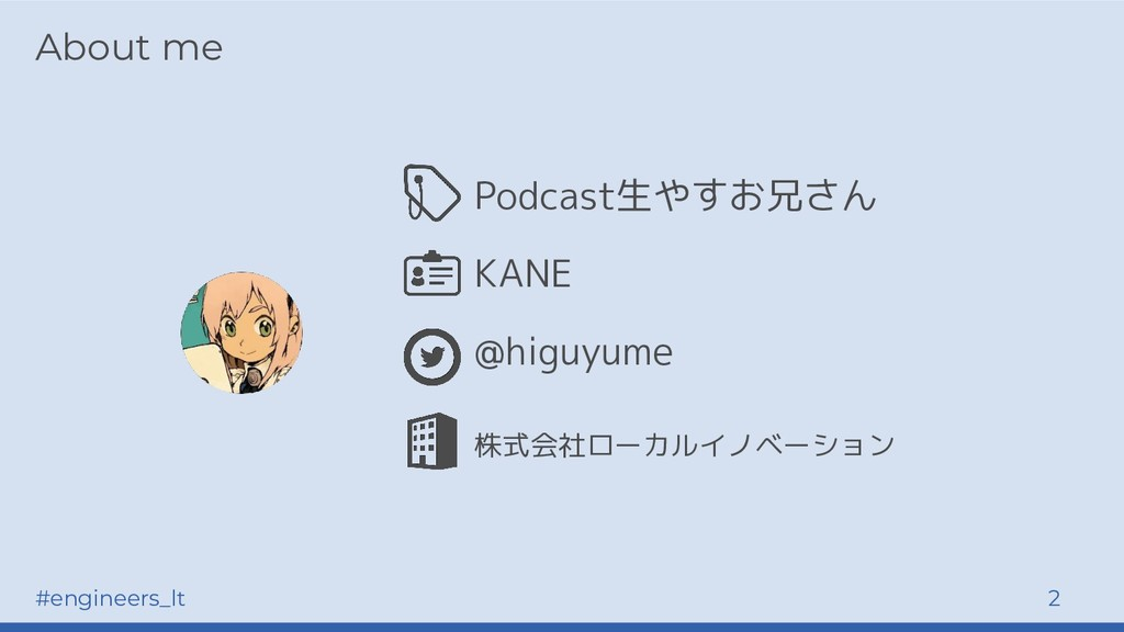 #engineers_lt 2 About me Podcast生やすお兄さん KANE @h...