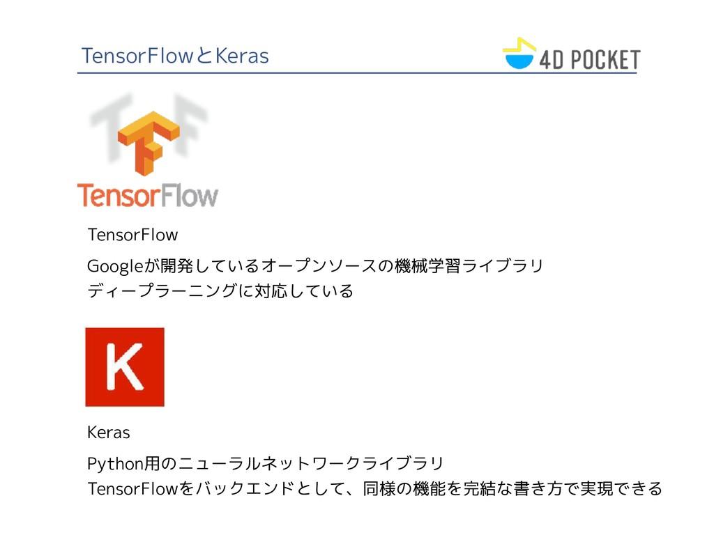 TensorFlowとKeras TensorFlow Googleが開発しているオープンソー...