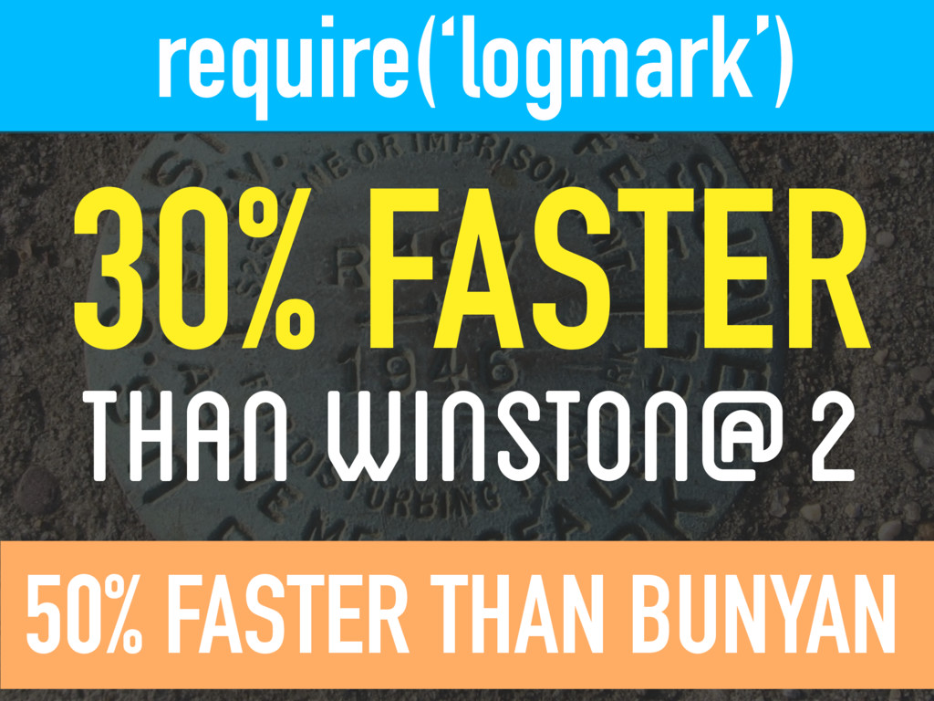 require('logmark') 30% FASTER THAN WINSTON@2...