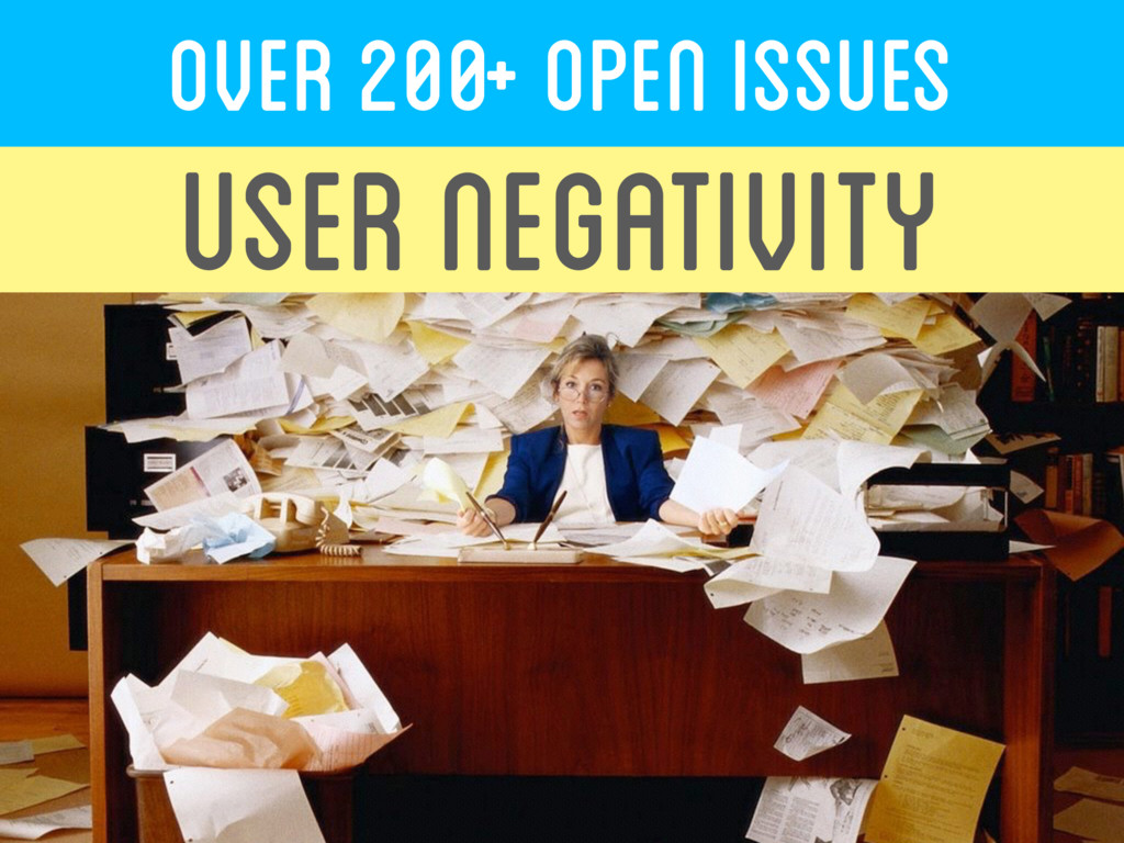 OVER 200+ Open ISSUES USER NEGATIVITY
