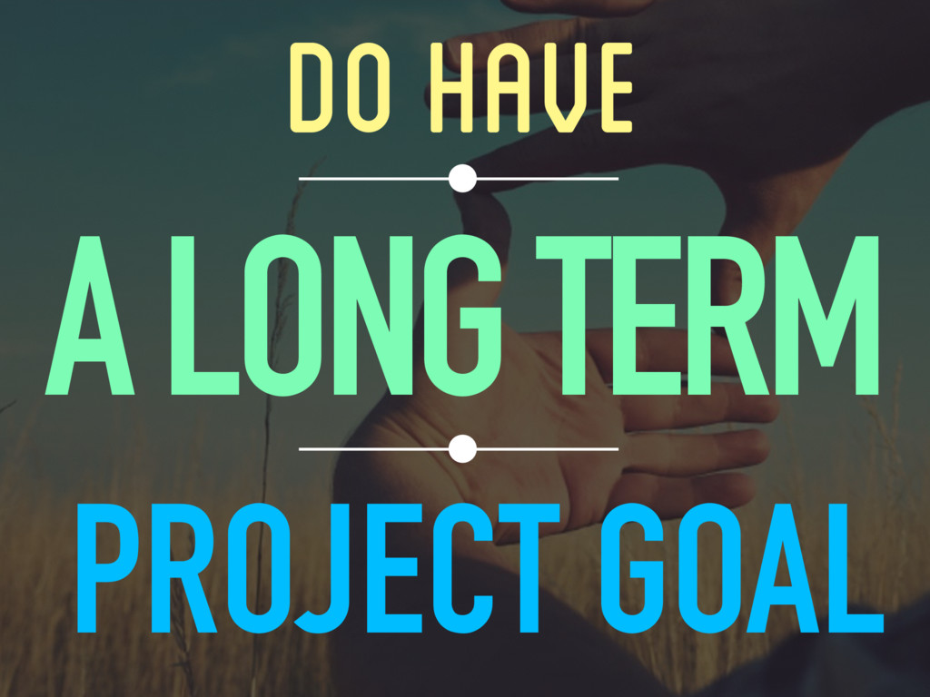 DO HAVE A LONG TERM PROJECT GOAL