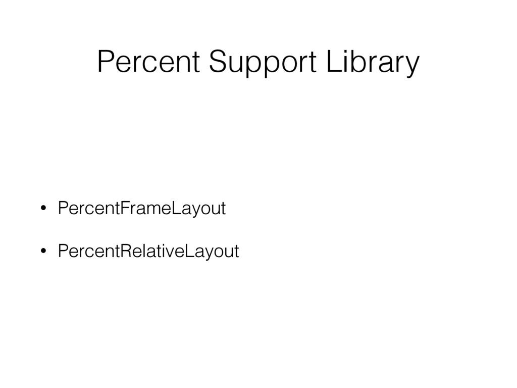 Percent Support Library • PercentFrameLayout • ...