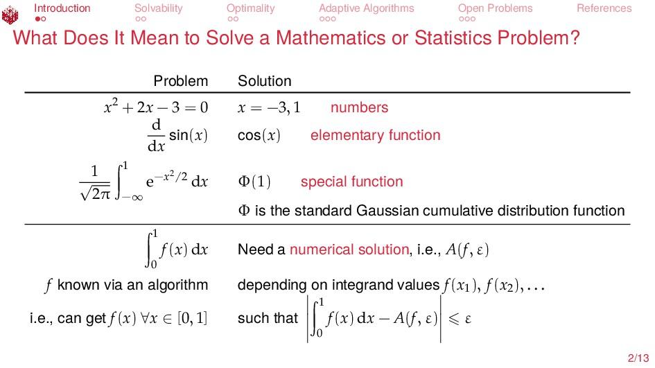 Introduction Solvability Optimality Adaptive Al...