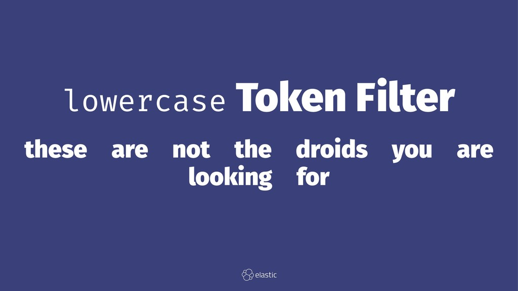 lowercase Token Filter these̴are̴not̴the̴droids...