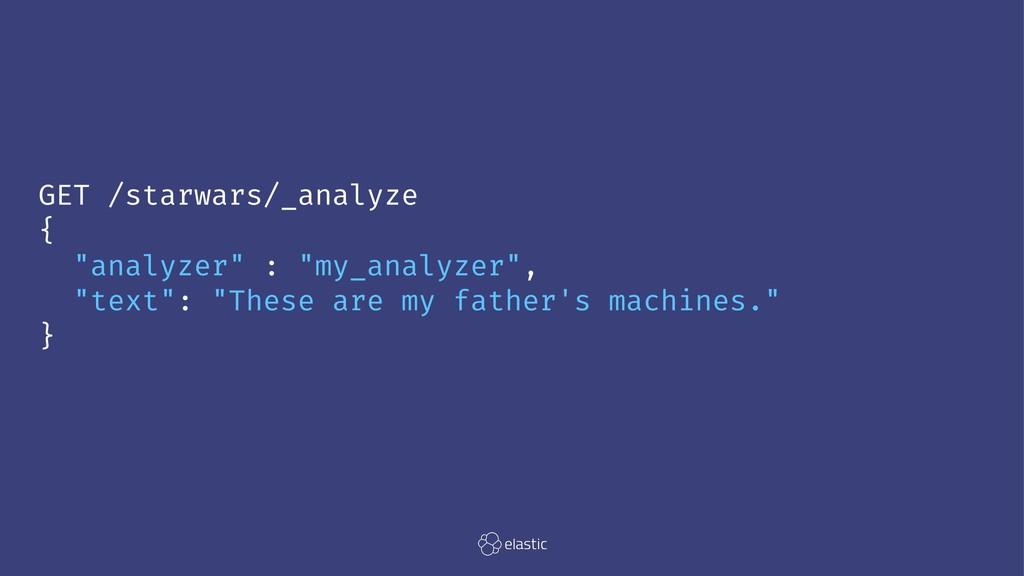"""GET /starwars/_analyze { """"analyzer"""" : """"my_analy..."""