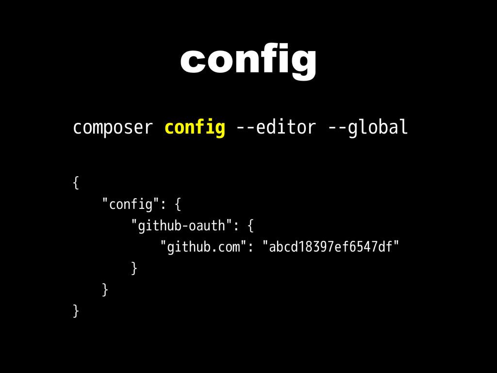 """config composer config --editor --global { """"con..."""