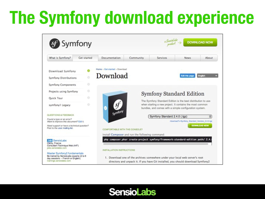 The Symfony download experience