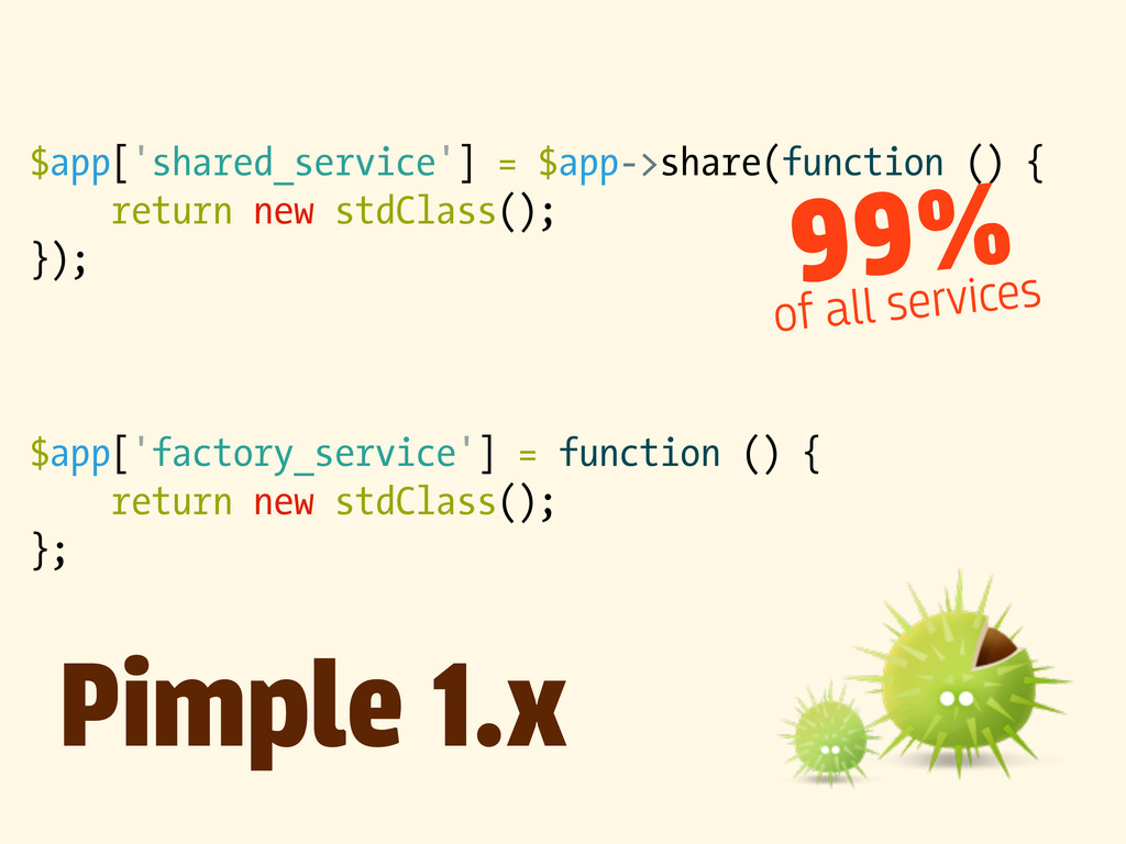 $app['shared_service'] = $app->share(function (...