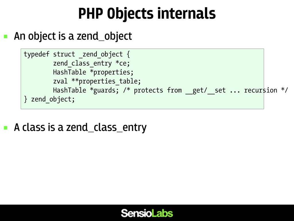 PHP Objects internals  An object is a zend_obj...