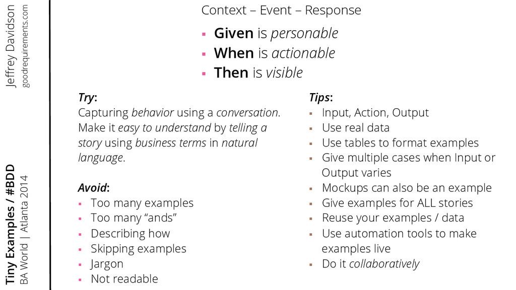 Try: Capturing behavior using a conversation. M...