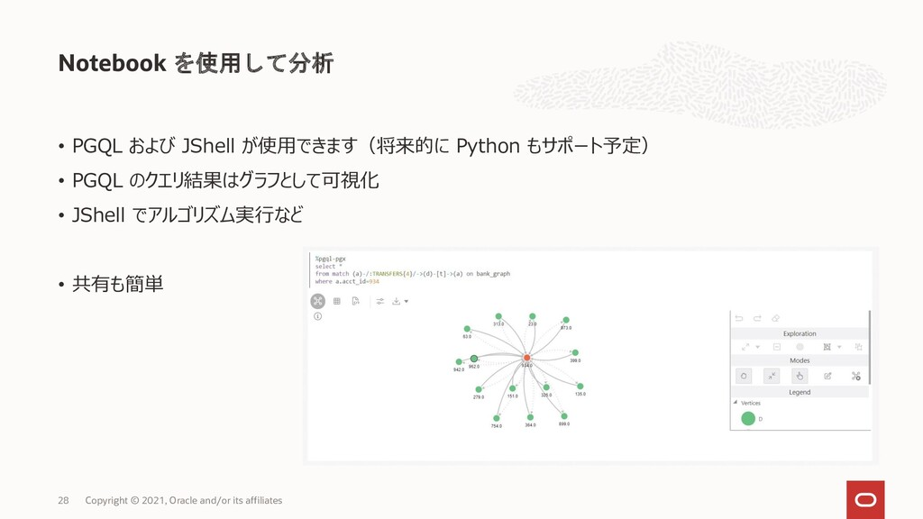Notebook を使用して分析 Copyright © 2021, Oracle and/o...