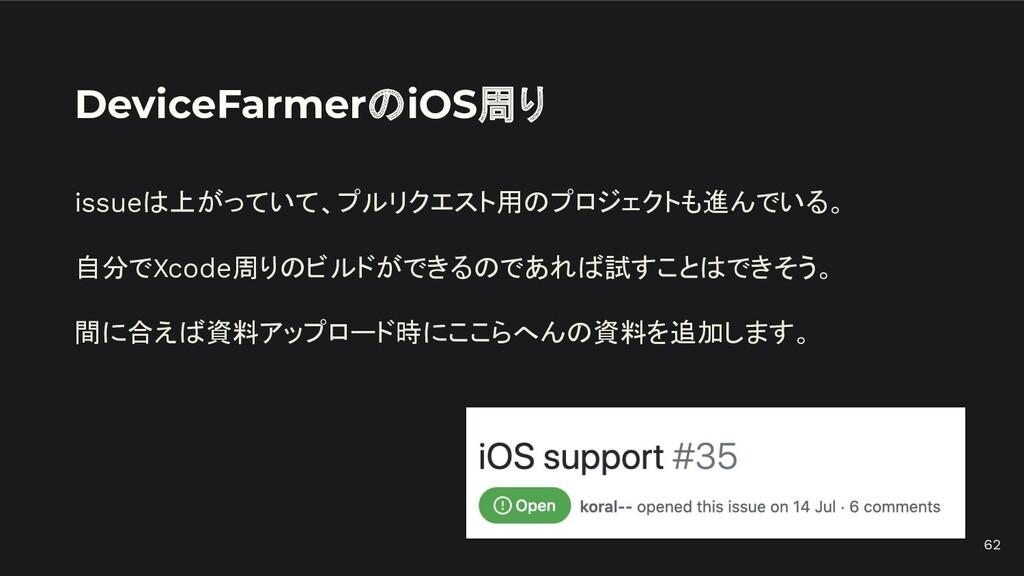 DeviceFarmerのiOS周り issueは上がっていて、プルリクエスト用のプロジェクト...