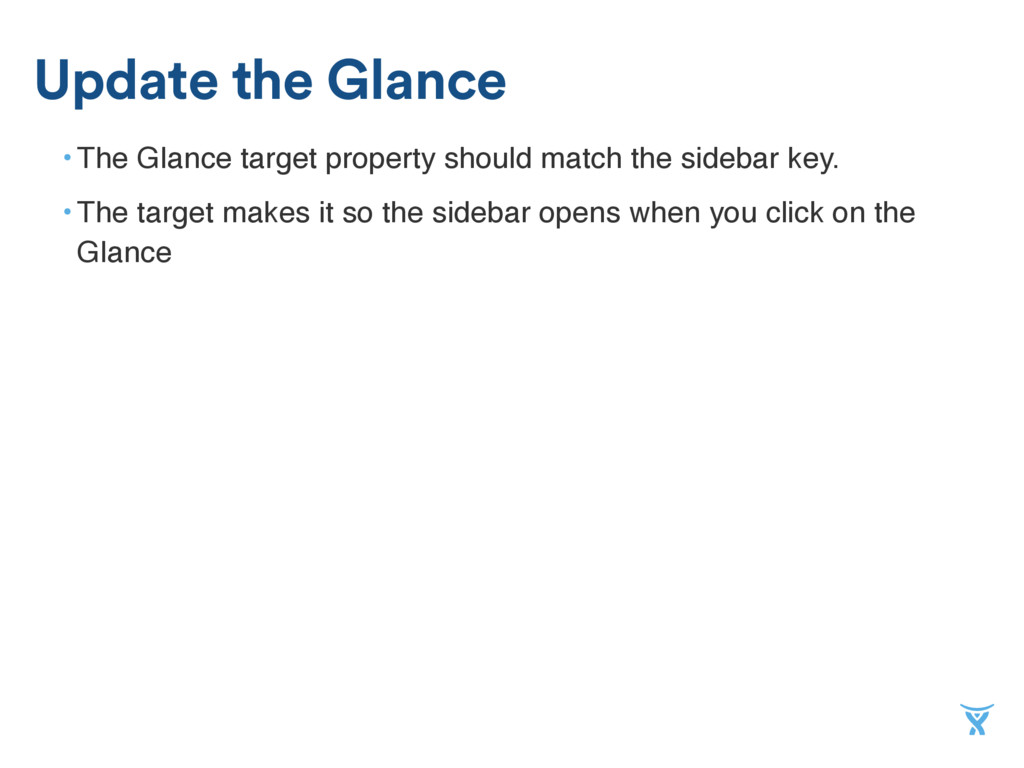 • The Glance target property should match the s...