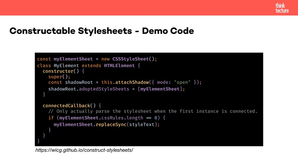 Constructable Stylesheets - Demo Code const myE...