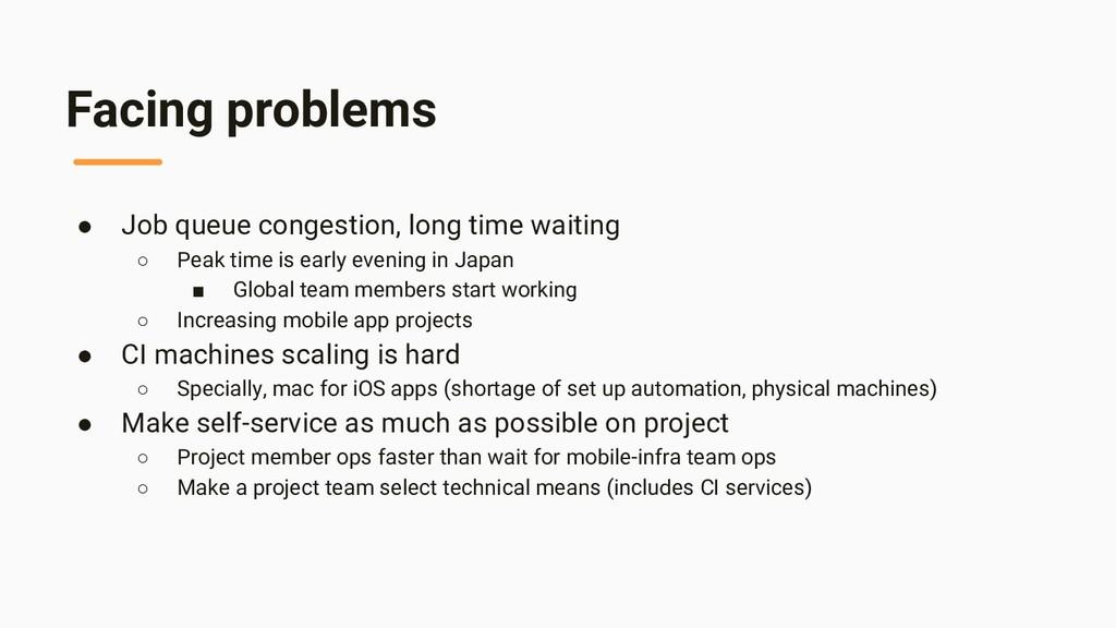 Facing problems ● Job queue congestion, long ti...