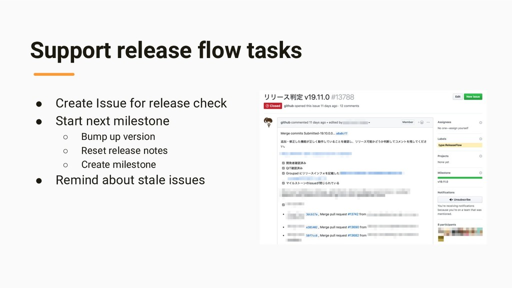 Support release flow tasks ● Create Issue for r...