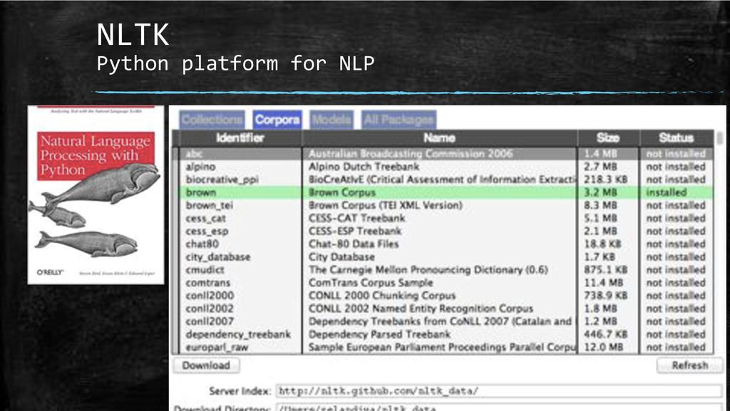 NLTK+ Python+platform+for+NLP+