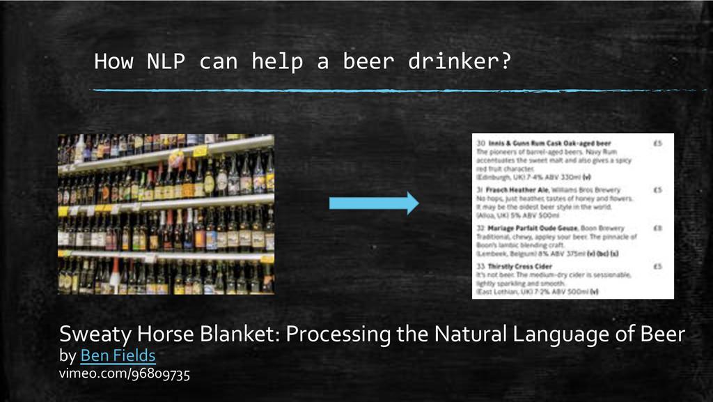 How+NLP+can+help+a+beer+drinker?+ Sweaty'Horse'...