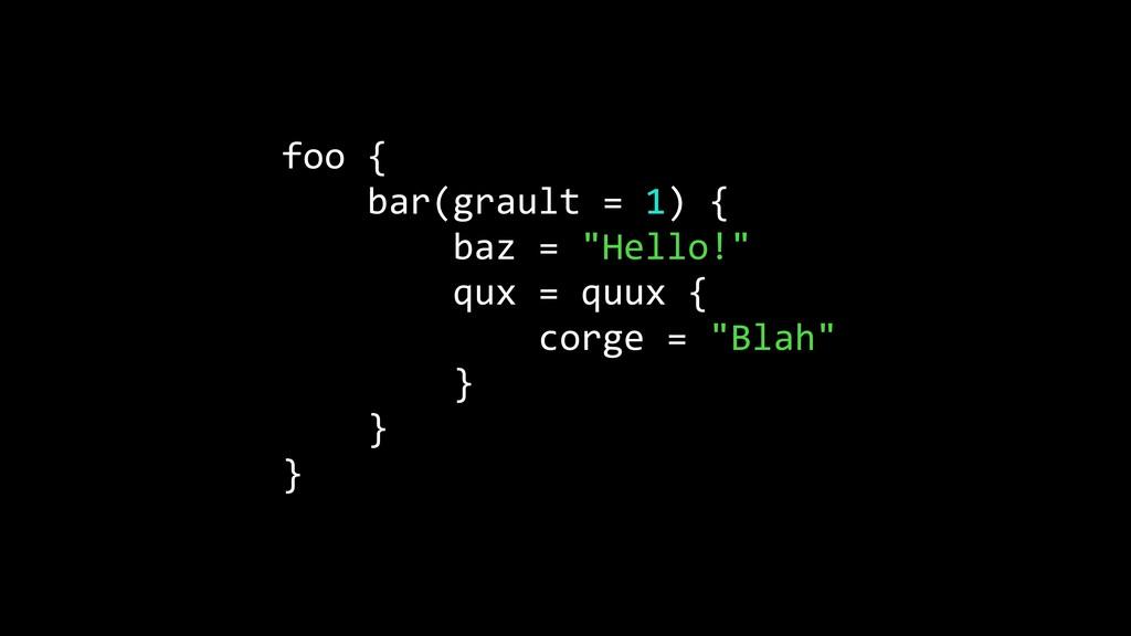 """foo { bar(grault = 1) { baz = """"Hello!"""" qux = qu..."""