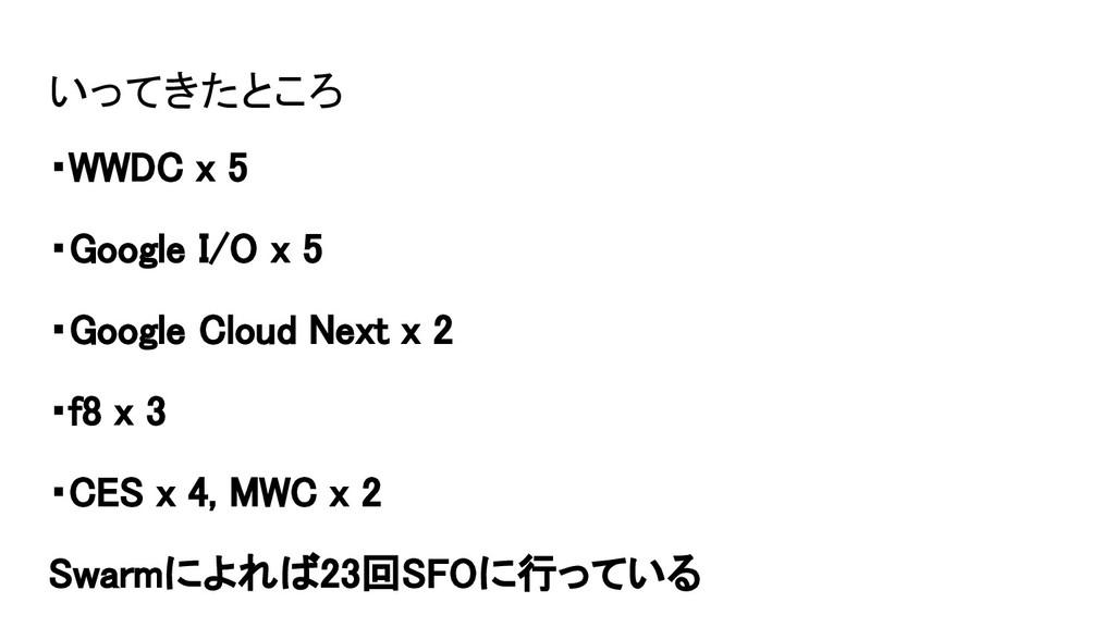 いってきたところ ・WWDC x 5 ・Google I/O x 5 ・Google Clou...