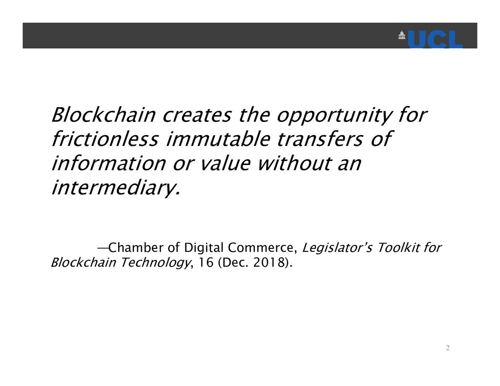 Blockchain creates the opportunity for friction...
