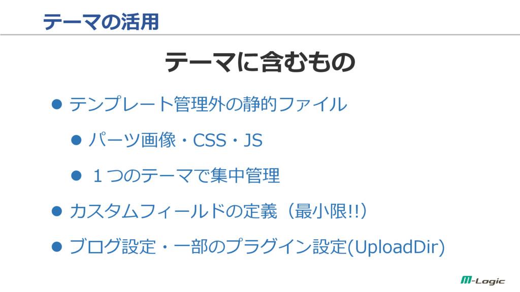 テーマの活用  テンプレート管理外の静的ファイル  パーツ画像・CSS・JS  1つのテ...