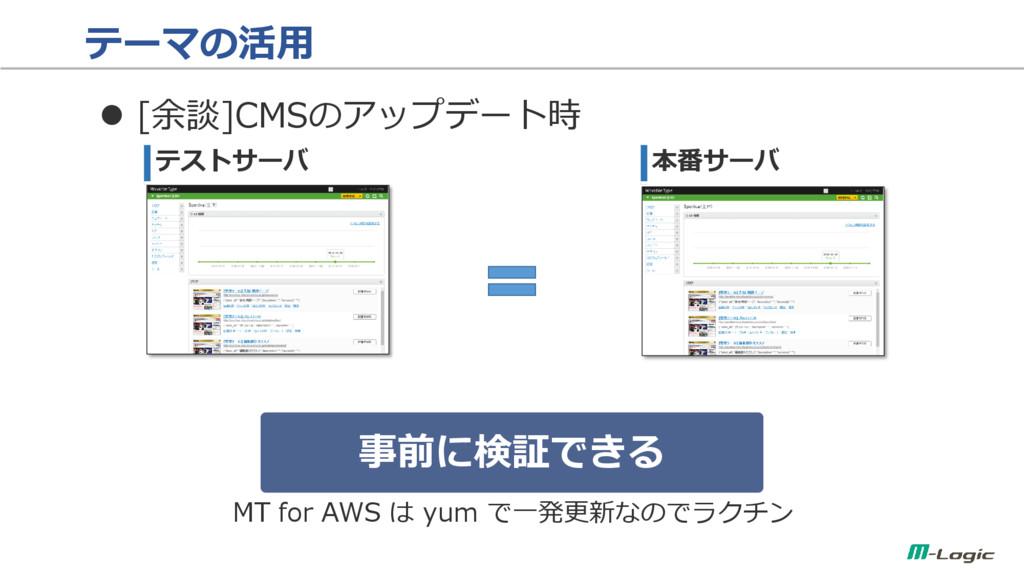 テーマの活用  [余談]CMSのアップデート時 テストサーバ 本番サーバ 事前に検証できる ...