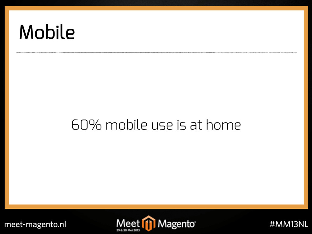 Mobile 60% mobile use is at home