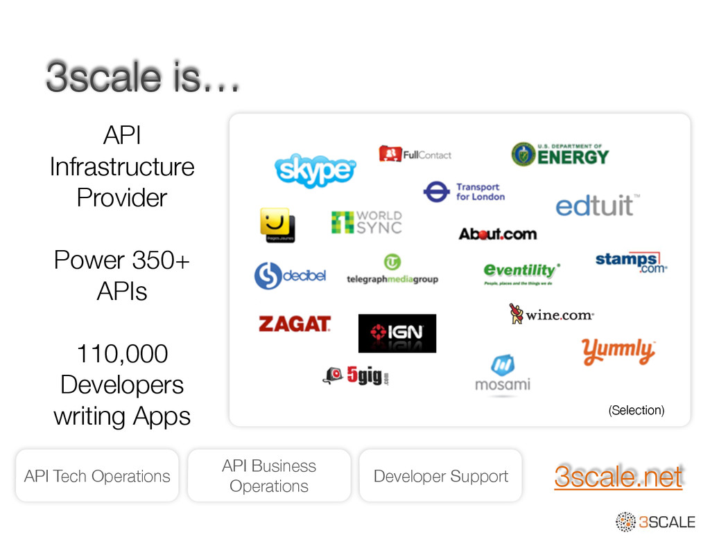 3scale is… API Infrastructure Provider ! Power ...