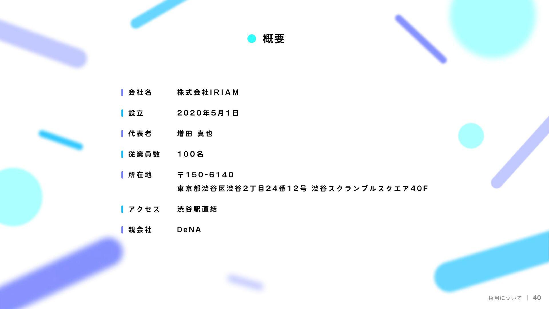 I R I A M 株式会社I R I A M  2020年5月1日  増田 真也  37名 ...