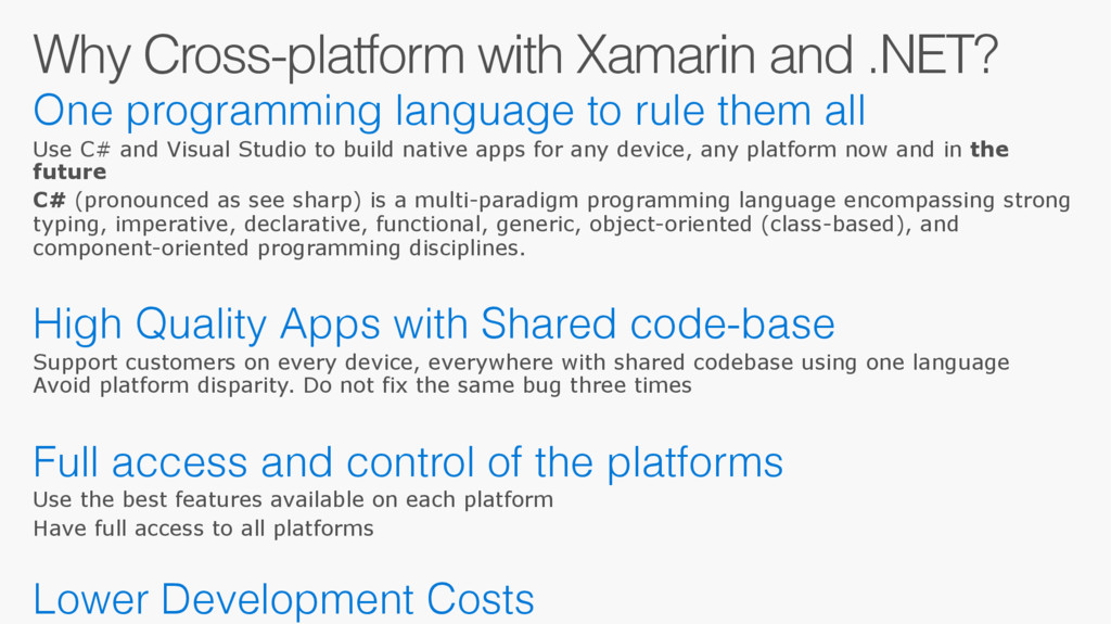 Why Cross-platform with Xamarin and .NET? One p...