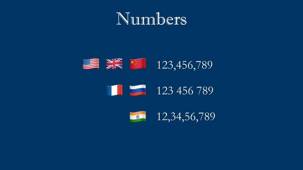 """Numbers 123,456,789 123 456 789 12,34,56,789 """" ..."""