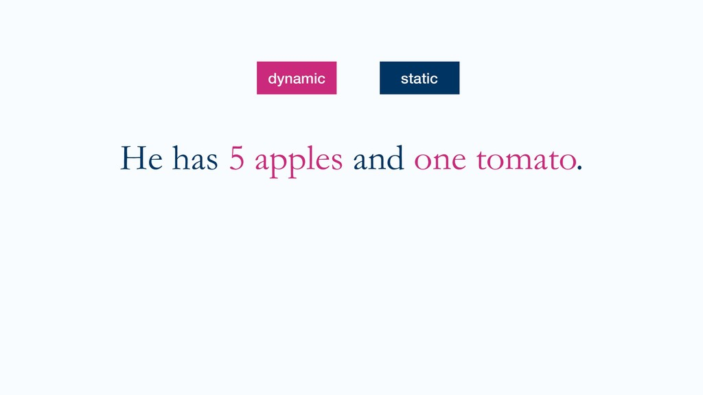 He has 5 apples and one tomato. dynamic static