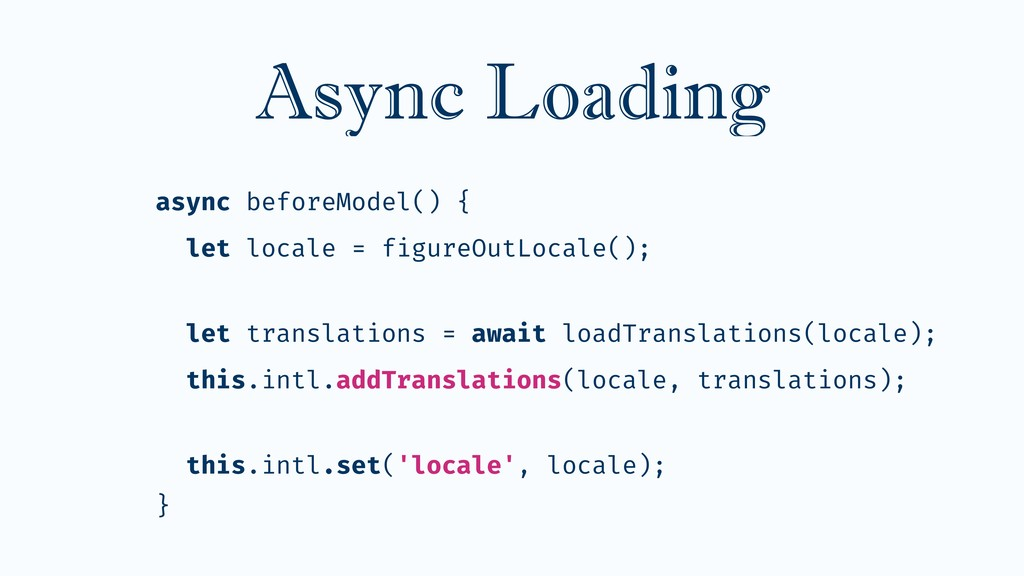 Async Loading async beforeModel() { let locale ...